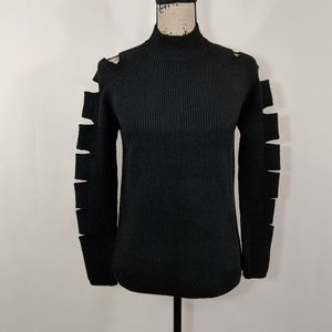 Love Token Cut Out Sleeves Mock Neck Sexy Sweater